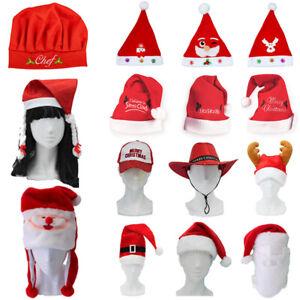Santa Hat Costume Christmas Dress Up Unisex Adults Kids Novelty Xmas Party Cap