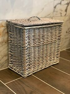New Grey Wicker Bathroom Storage Basket With Lid Handmade High Quality Toilet