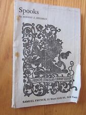 1932 Spook's by Robert Sherman Play BOOK (Paperback) French's Standard Library