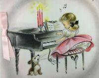 1950's Hallmark Greeting Card Cute Girl Playing Piano Dog Puppy Singing Barking