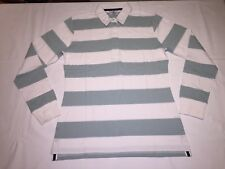 New Ladies Front Row striped rugby shirt. White/Duck Egg .L/14  R64