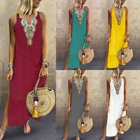 Women Ladies Casual Loose Bohemian Floral Print Sleeveless Maxi Beach Dress gems