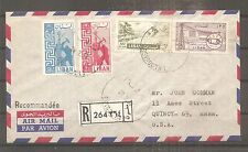 LETTRE LEBANON LIBAN BEYROUTH TO USA 1958 REGISTERED BY AIRMAIL