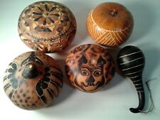 Lot/5 Peru and other Hand Carved Gourd Folk Art Thanksgiving Decor Free Ship!