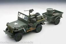 Jeep Willys With Trailer Army Green 1:18 by Autoart 74016 Brand New In Box Rare