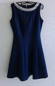 NWT Karl Lagerfeld Navy Blue Short Sleeveless Pearl Neckline Flare Dress  Sz 4