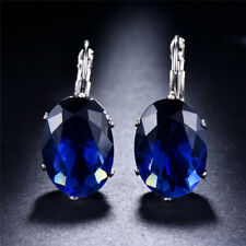 Women White Gold Filled Sapphire Oval Cut Stud Earrings Gifts Women Ear Jewelry
