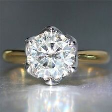 2 Ct Solitaire Off White Moissanite Engagement Ring In 10K White / Yellow Gold