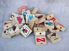 28 Vintage Wood Alphabet Letter Blocks Childs Wooden Play Toy