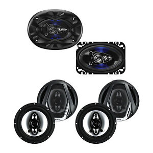 """Boss 4 x 6"""" 4 Way 250W Full Range Speakers Pair and 4 6.5"""" 400W Coaxial Speakers"""