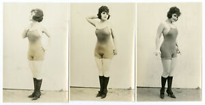 BATHING BEAUTY GROUP OF 3 EA ART DECO GLAMOUR '10s VINTAGE ORIGINAL PHOTOGRAPHS