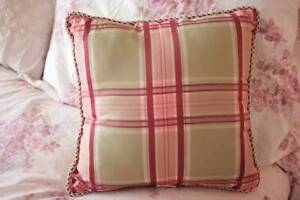 Decorative Toss Pillow 16 x 16 Plaid Burgundy Pink Green Shabby Cottage Chic