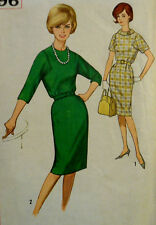 Vtg 60s Cocktail Party Career Day Dress Square Armhole Simplicity 4696 Bust 33