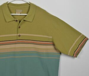 The Territory Ahead Men's XLT (XL Tall) Olive Green Striped Polo Shirt