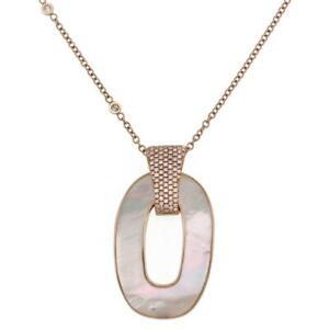 Estate Diamond Mother of Pearl 18k Rose Gold Loop Pendant Chain LIQUIDATION