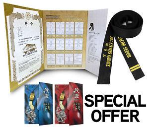 Martial Arts Black Belt Embroidered Custom Belt Taekwondo WTF Certificate + Case