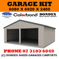 DONDEX SHEDS Double Garage Shed Kit 6x7x2.4 Colorbond Roof Walls Doors Trim