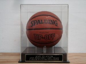 Custom Engraved Nameplate And A Basketball Display Case For Any Player Or Team