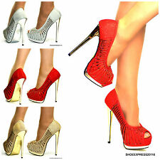 WOMENS GOLD SILVER RED SHIMMER HIGH HEEL CRYSTALS METALIC FINISH PEEP TOE SHOES