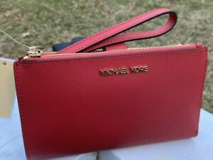 Michael Kors Saffiano Leather Double Zip Phone Case Wallet Wristlet Red