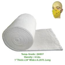 """Ceramic Fiber Insulation Blanket Wool Thermal 2600F 6# 1"""" x 24"""" x 6.20'"""