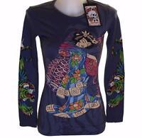 New Women's Ed Hardy Long Sleeve Specialty T Shirt Stretch Kimono Geisha Small