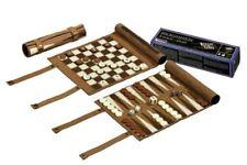 Philos 2801 - Set da Viaggio per scacchi Backgammon e Dama in Pelle sintetica