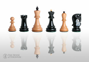 """The Zagreb '59 Chess Set - Pieces Only - 3.875"""" King - Black & Natural Lacquered"""