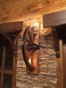 Wandleuchten-authentische lampe  Wandleuchten aus alten Pferdewagen Rädern!