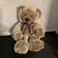 Russ Teddy Bear Wesley w/ Plaid Bow Stuffed Animal Gray Plush 9""