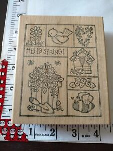 Hello spring, picture blocks, imaginations, huge, 915,wooden,rubber,stamp