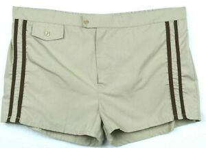 """Unbranded Brown 40/42 Vintage 70's Swimming Bathing Suit Bottoms 2.5"""" Inseam"""