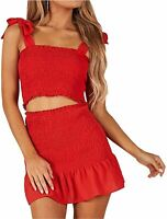 Women's Bohemian Striped Printed Crop Top with High Waist Shorts, Red, Size 2.0