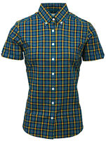 Relco Womens Multi Tonal Short Sleeve Check Shirt Button Down Collar Mod Tartan