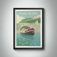 More details for canal du midi france travel poster - framed - vintage - bucket list prints