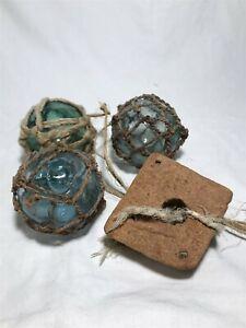 VINTAGE Set Lot of 3 Japanese Fishing Net Glass Balls Floats Netting Blue Green