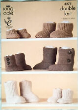 King Cole DK Knitting pattern Boots Hug Slippers baby child adult 3275