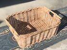Large Wicker Basket Flat Herb Flower Gathering Vintage Woven Rattan 24x18x9