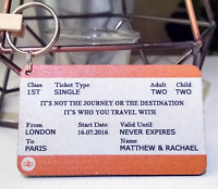 Personalised Train Ticket Keyring Anniversary Valentines Gift For Husband Wife