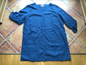 SEASALT BLUE TUNIC/ARTIST SMOCK WITH POCKETS SIZE 18/L/XL OVERSIZE FAB!