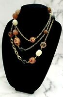 Vintage Bohemian Animal Print Wooden and Lucite Beaded Extra Long Necklace