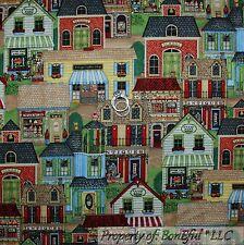 BonEful Fabric FQ Cotton Quilt Country Town House Farm STAR Home School Antique