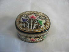 HAND PAINTED GOLDEN LEAVES KEEPSAKE JEWELRY BOX INDIA