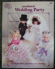 "Wedding Party for 13"" dolls crochet patterns bride groom bridesmaid flower girl"