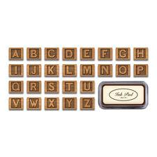 Cavallini - Tin of 26 Rubber Stamps - New ABC Alphabet - Black Ink Stamp Pad Inc