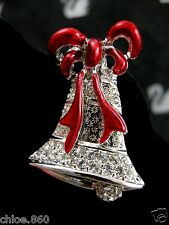Signed Swarovski Pave' Crystal Bell Pin ~ Brooch Retired New