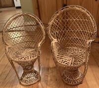 "Mini Peacock Wicker Back Rattan Chairs 16"" Doll Plant Stand Boho Hippie Decor 2"