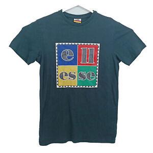 Ellesse Mens T-Shirt Size S Black Short Sleeve Multicolored Box Logo Crew Neck