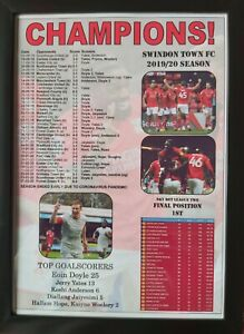 Swindon Town League Two champions 2020 - framed print