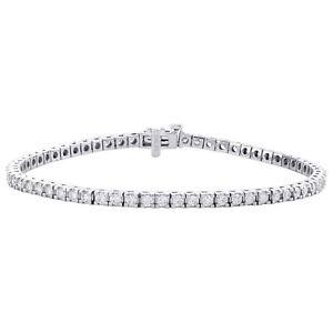 "14K White Gold Round Diamond 3mm Prong Set Tennis Bracelet 7.50"" 2.70 CT"